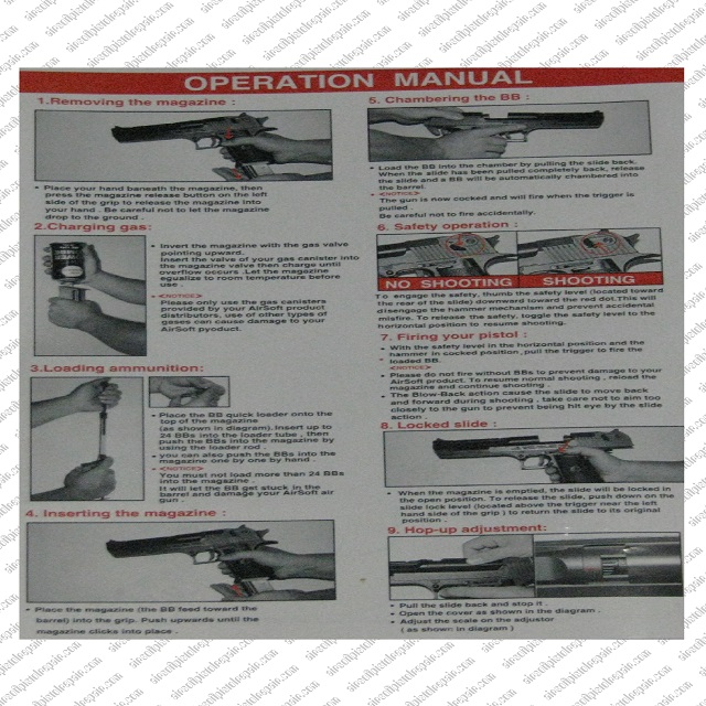 Operation DE Pistol Manual