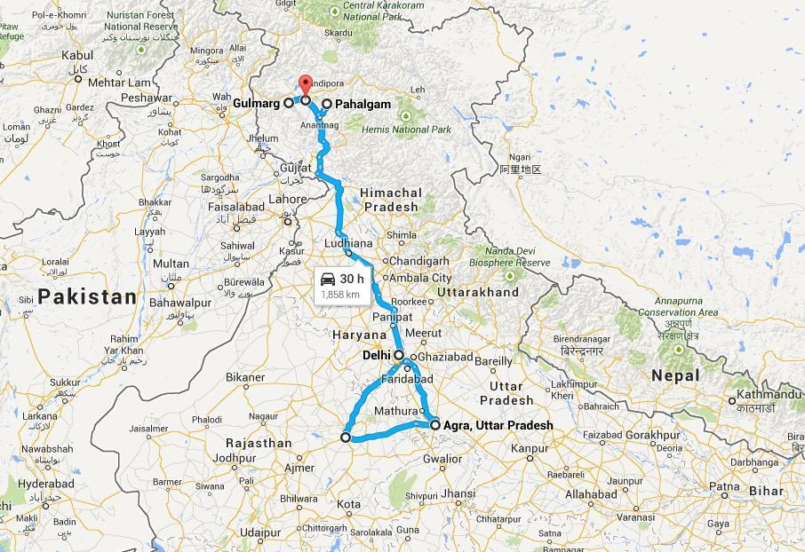 Delhi Agra Jaipur Srinagar Tour
