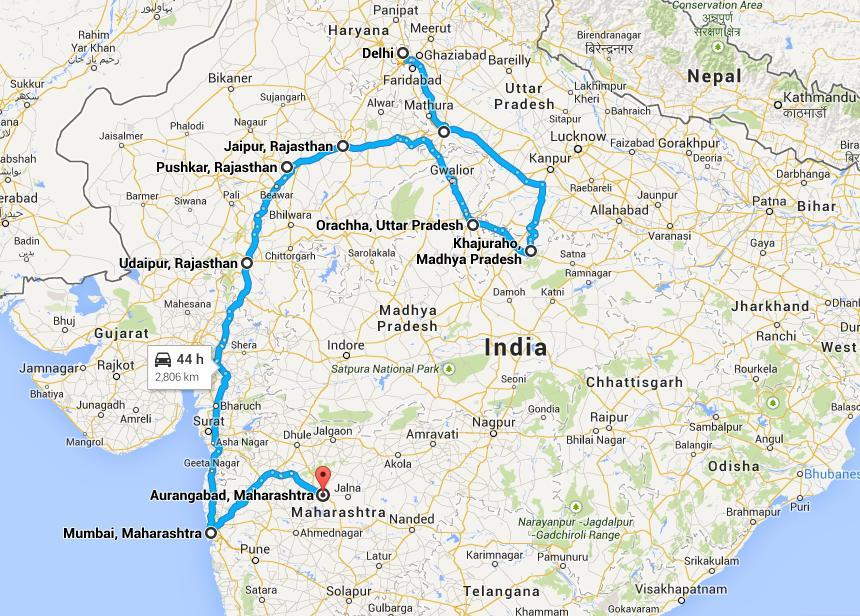 Delhi Agra Khajraho Orcha Jaipur Pushkar Udaipur Mumbai Aurangabad Ajanta  Elora Caves Tour