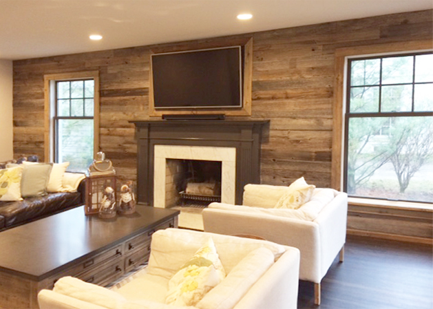 Reclaimed Living Room Feature Wall