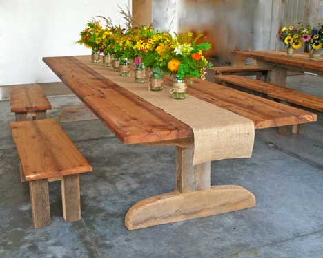 Table and Benches built by John -  Wild flower bridal arrangements created by master gardener Anne Fischer