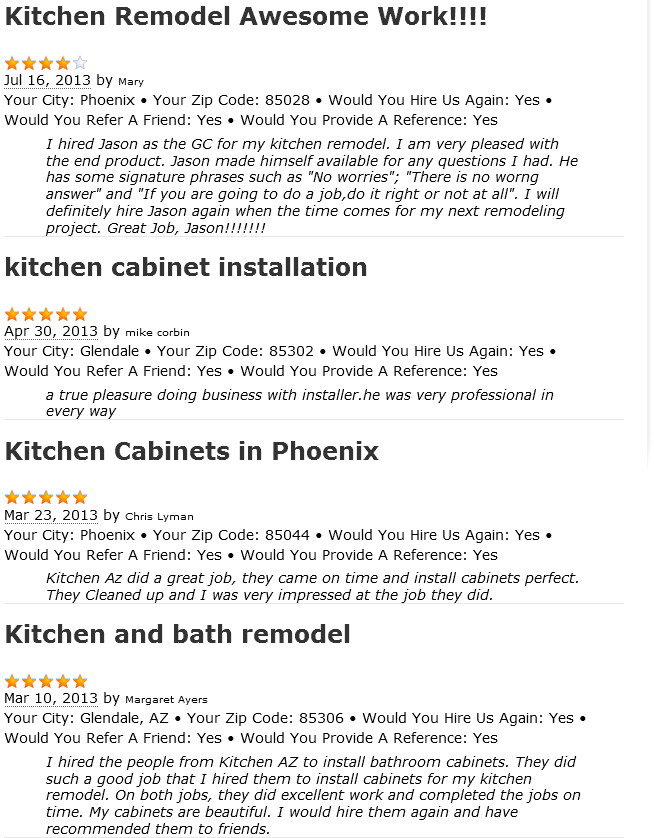 Phoenix AZ Kitchen Remodeling Contractor Customer Reviews