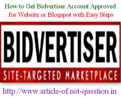 Bidvertiser Account Approval