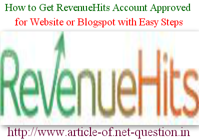RevenueHits Account Approval