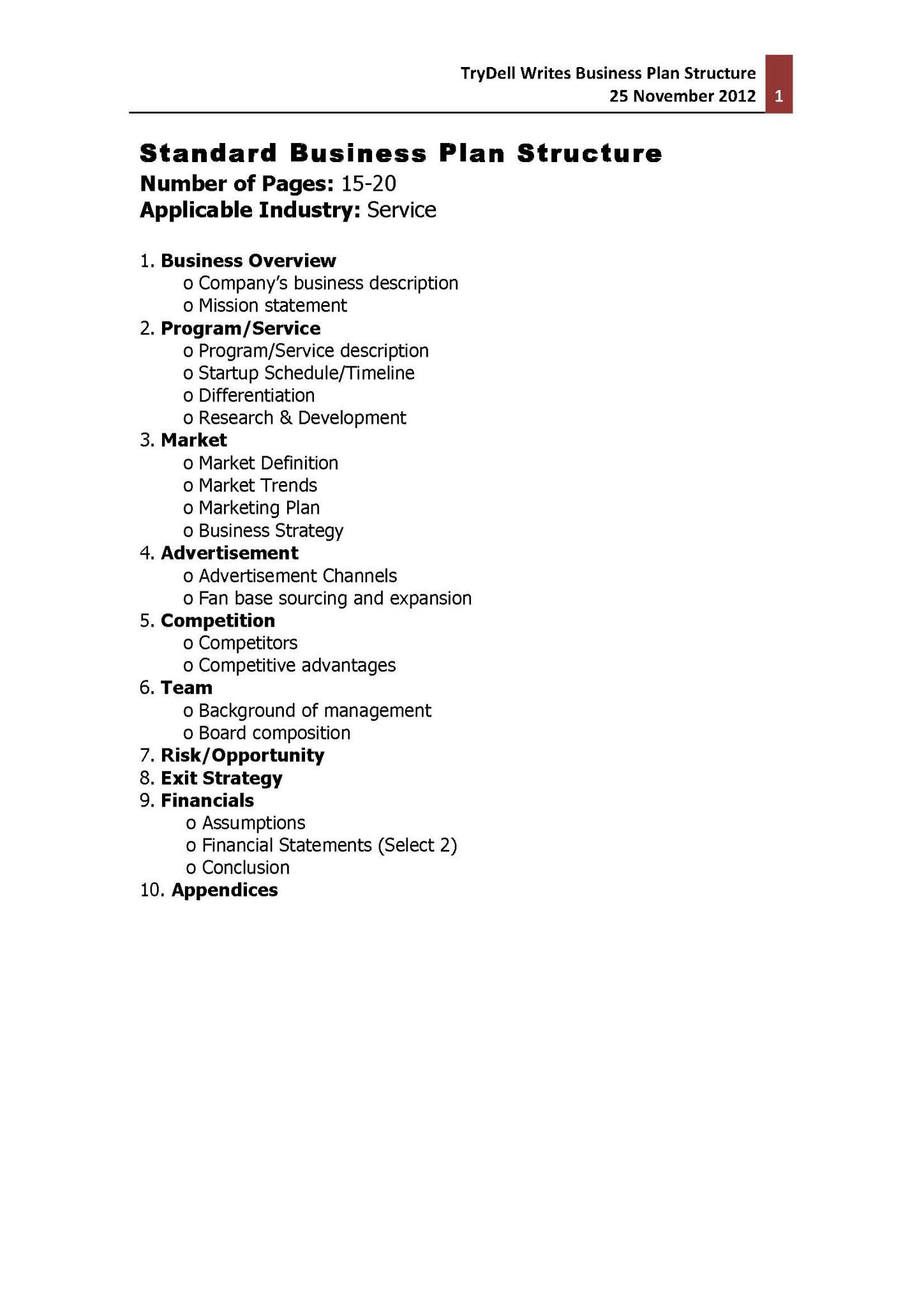 Standard business plan format