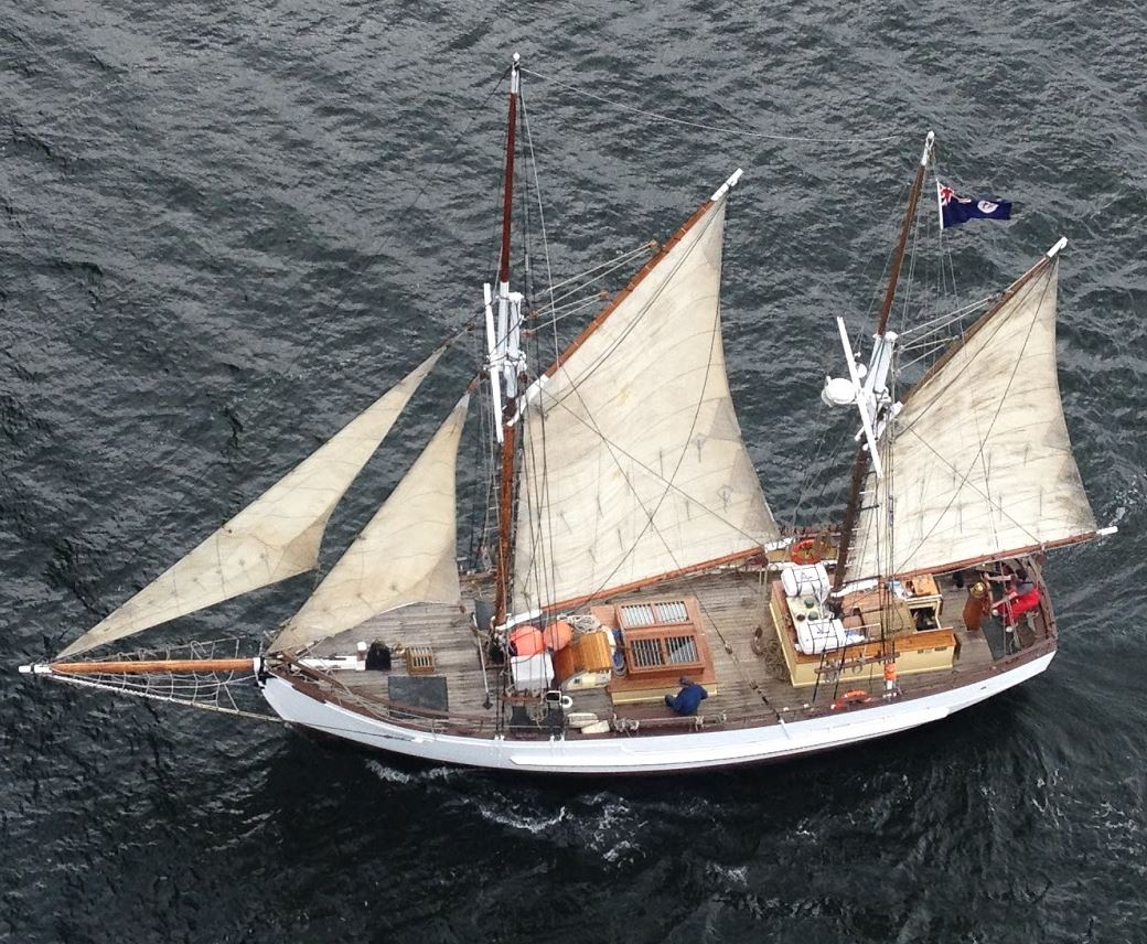 SV Rhona H from the Tasman Bridge