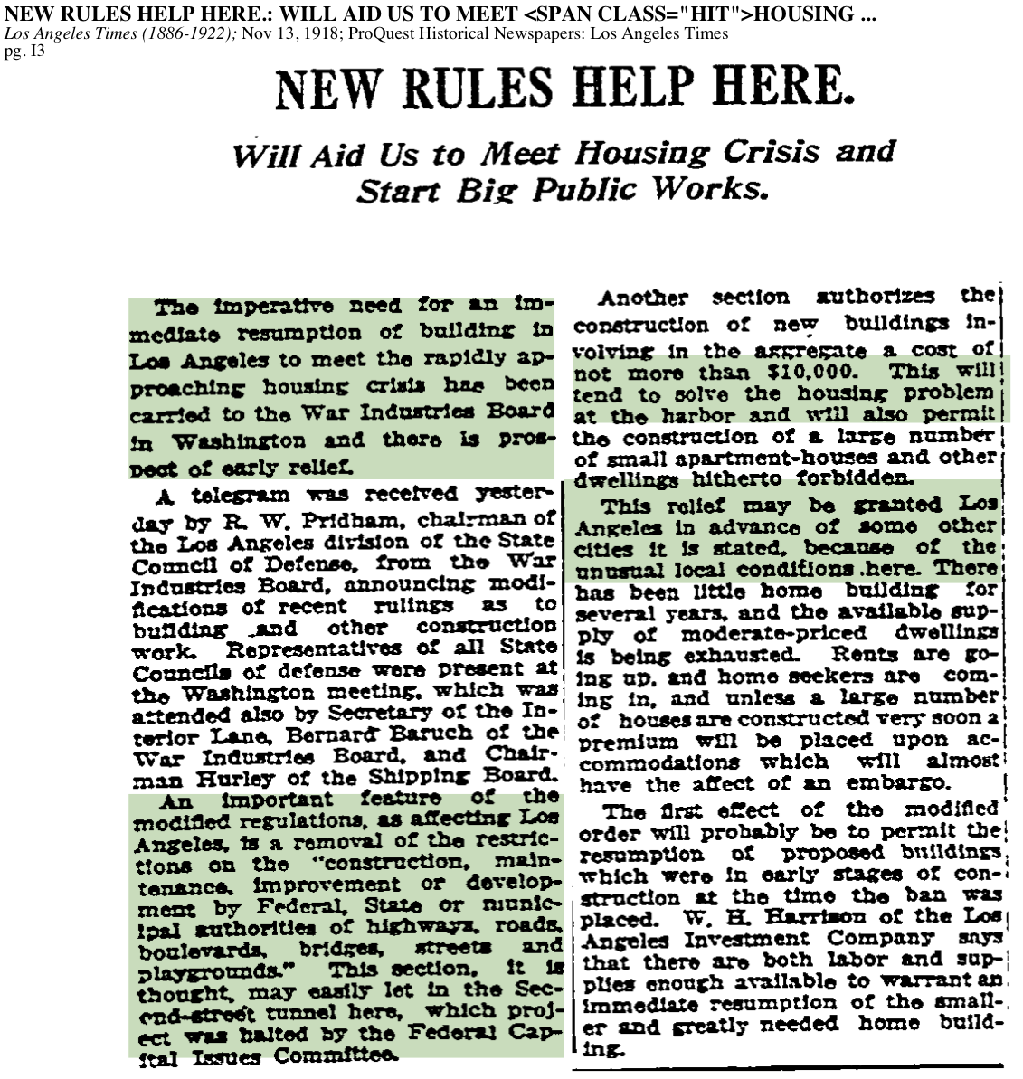 1918-Imperative Need For immediate Resumption Of Building