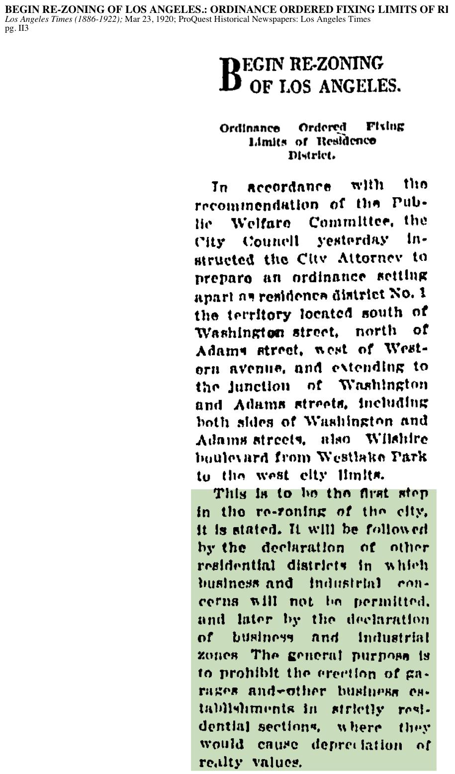 1920-Begin Re-Zoning Of Los Angeles