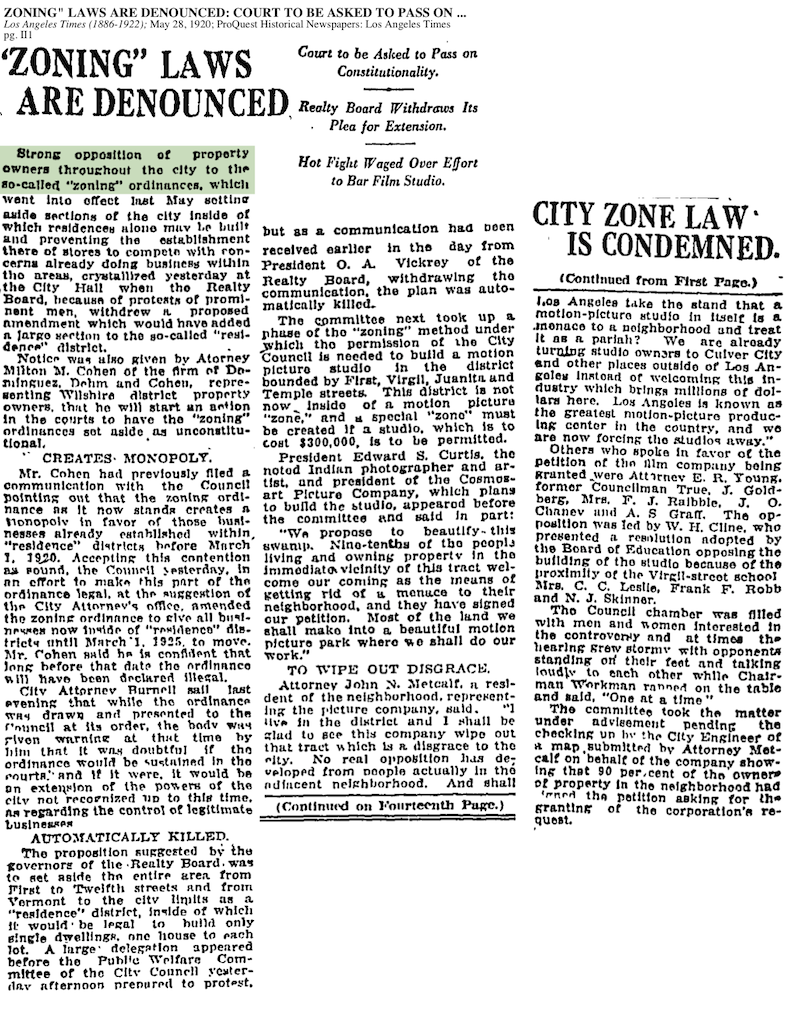 1920-Zoning Laws Denounced