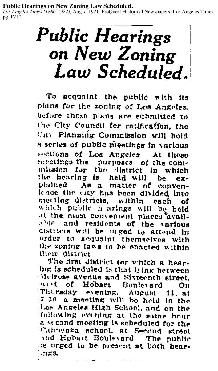 1921-Public Hearings On New Zoning