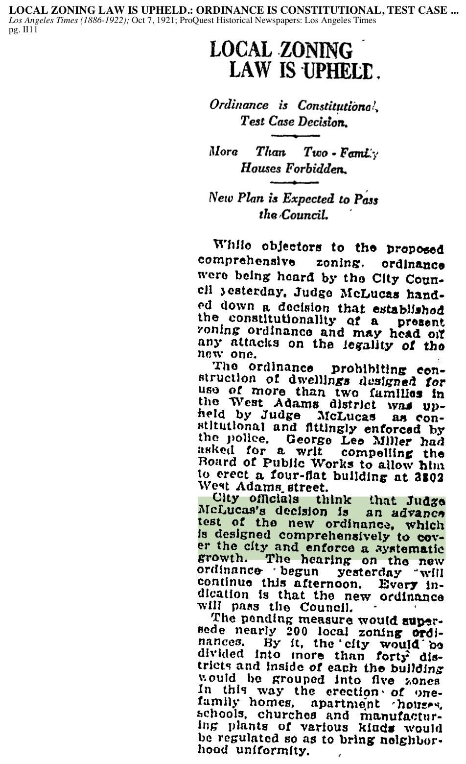 1921-Local Zoning Law Upheld