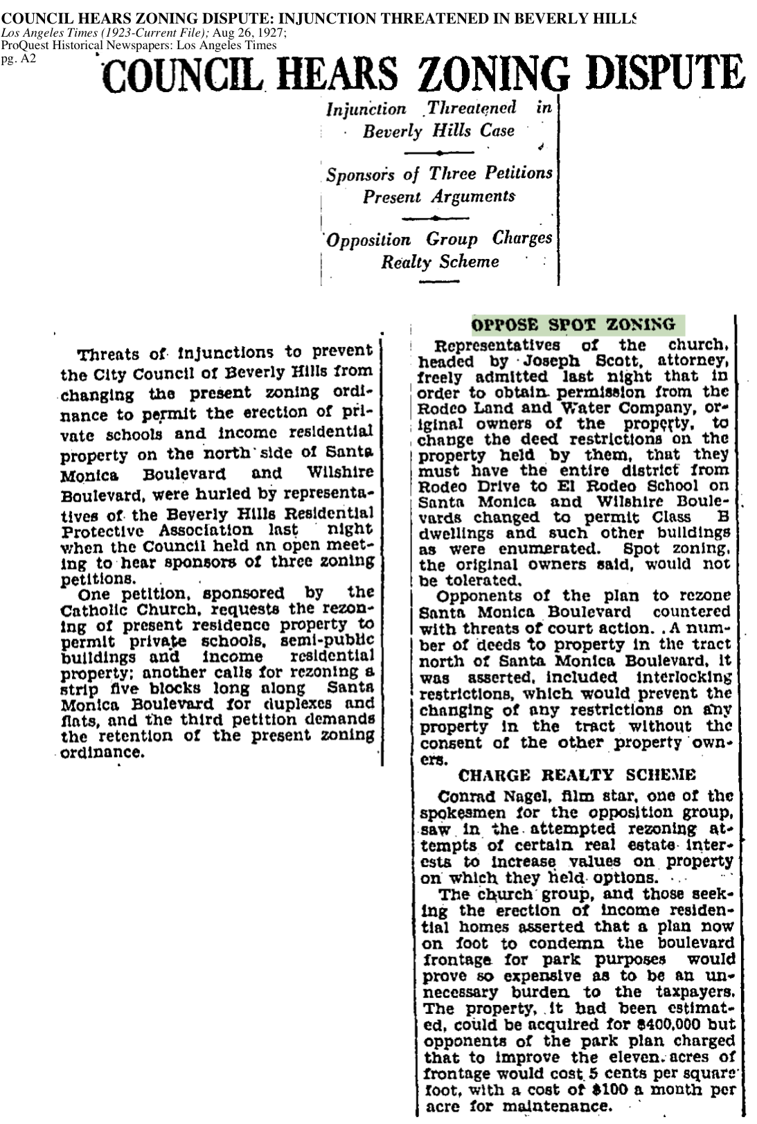 1927-Council Hears Zoning Dispute