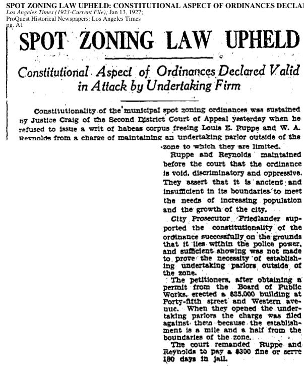 1927-Spot Zoning Law Upheld