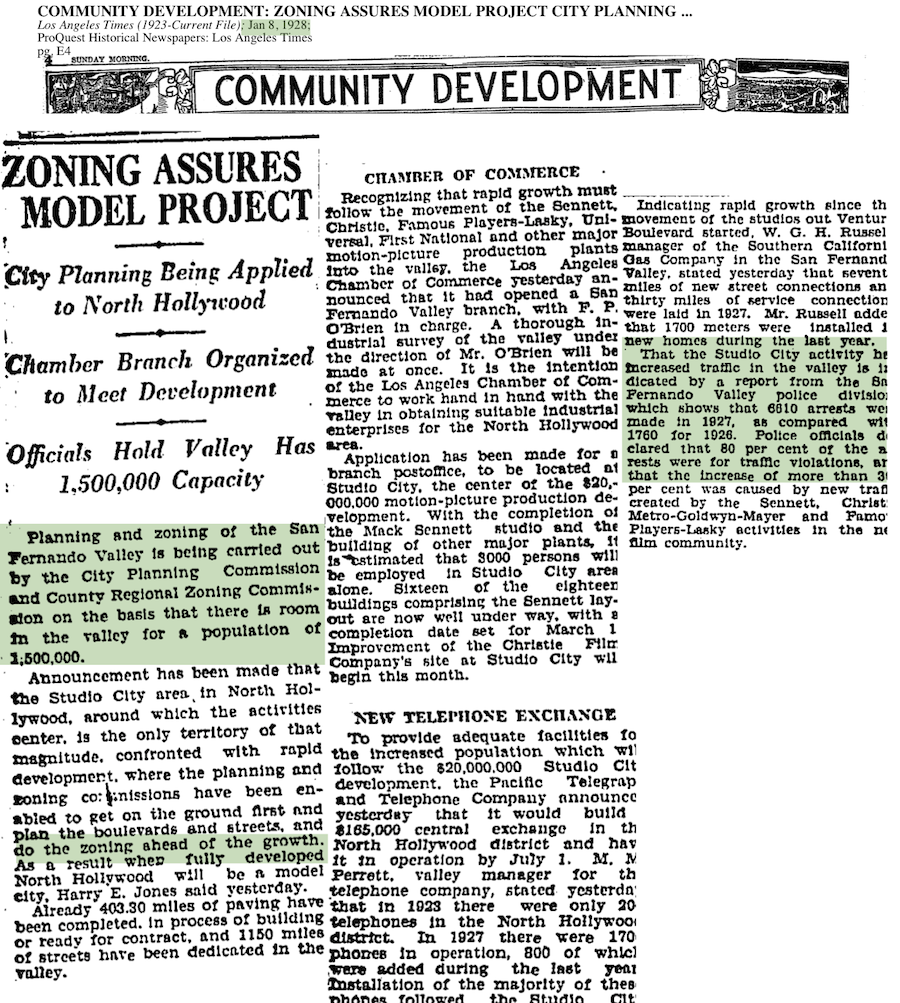 1928-Planning and Zoning To Be Carried Out In San Fernando Valley