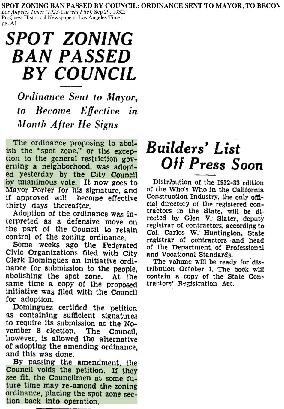 1932-Spot Zoning Ban Passed