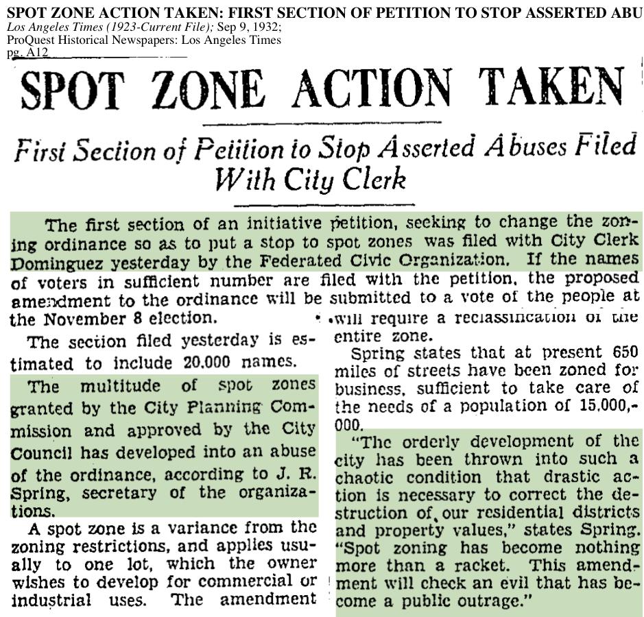 1932-Spot Zoning Action Taken