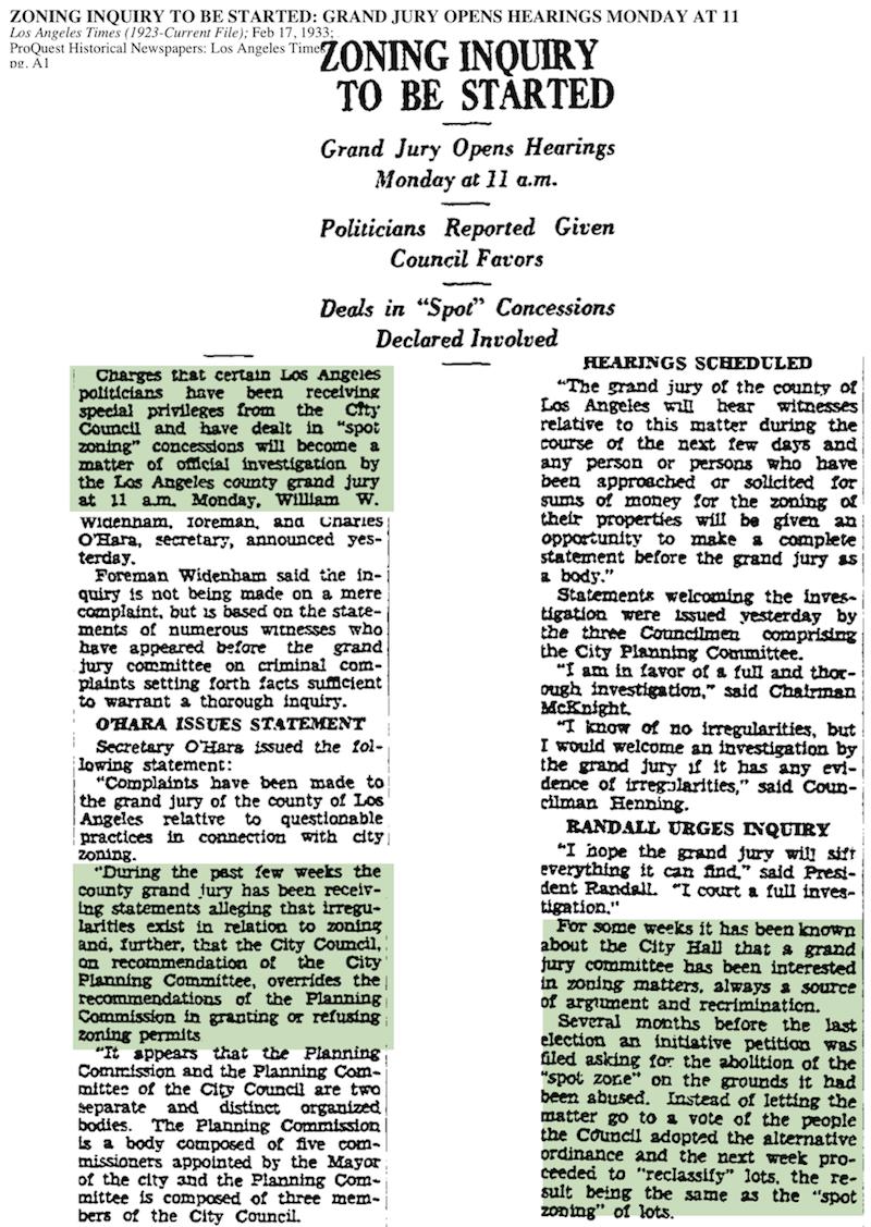 1933-Zoning Inquiry Starts