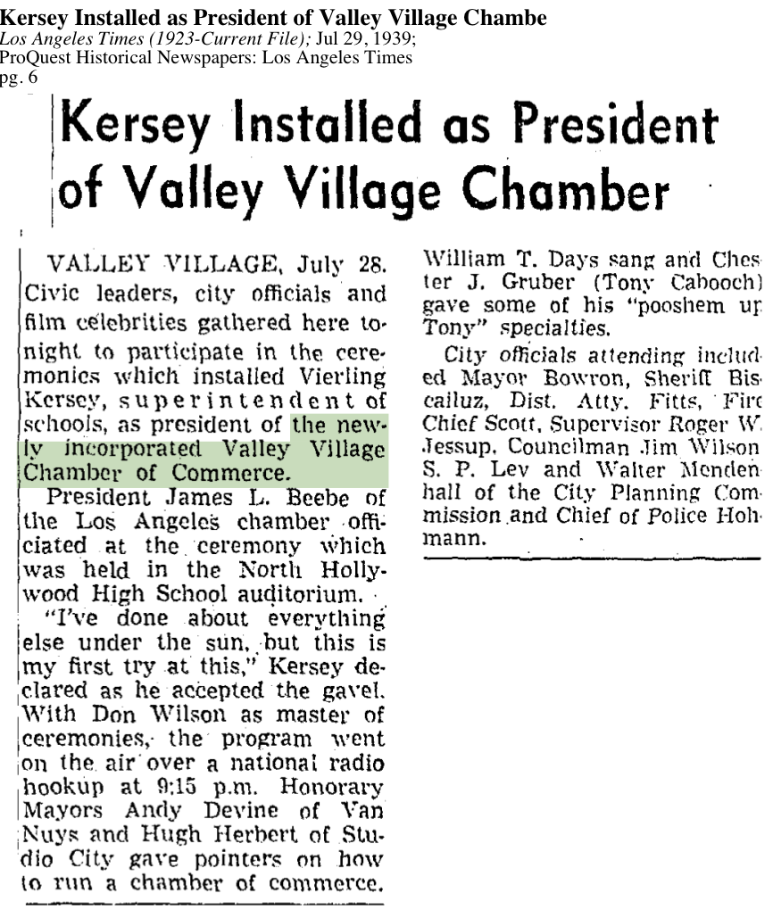 1939-Newly Incorporated Valley Village Chamber of Commerce