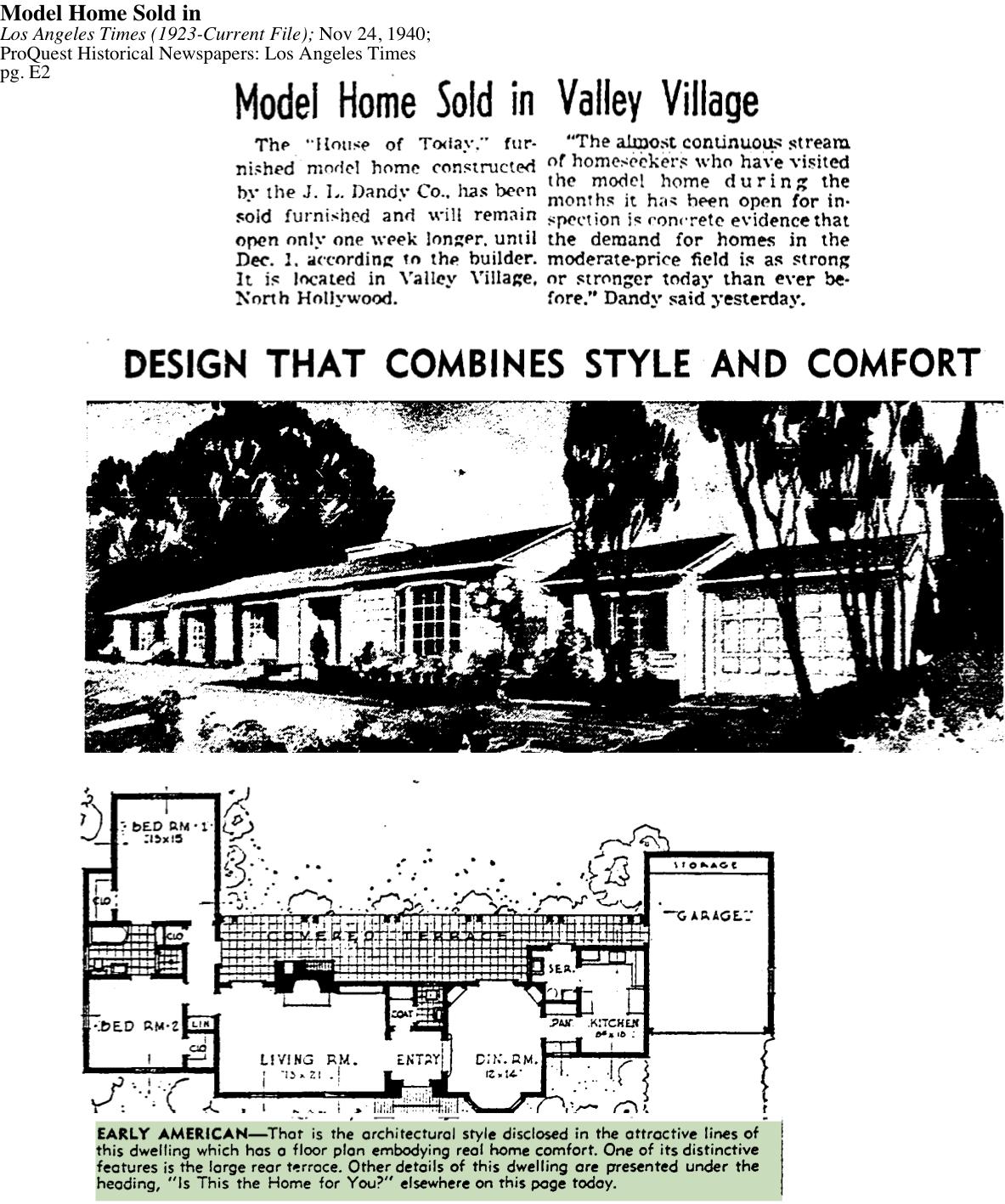 1940-Valley Village Home Sold