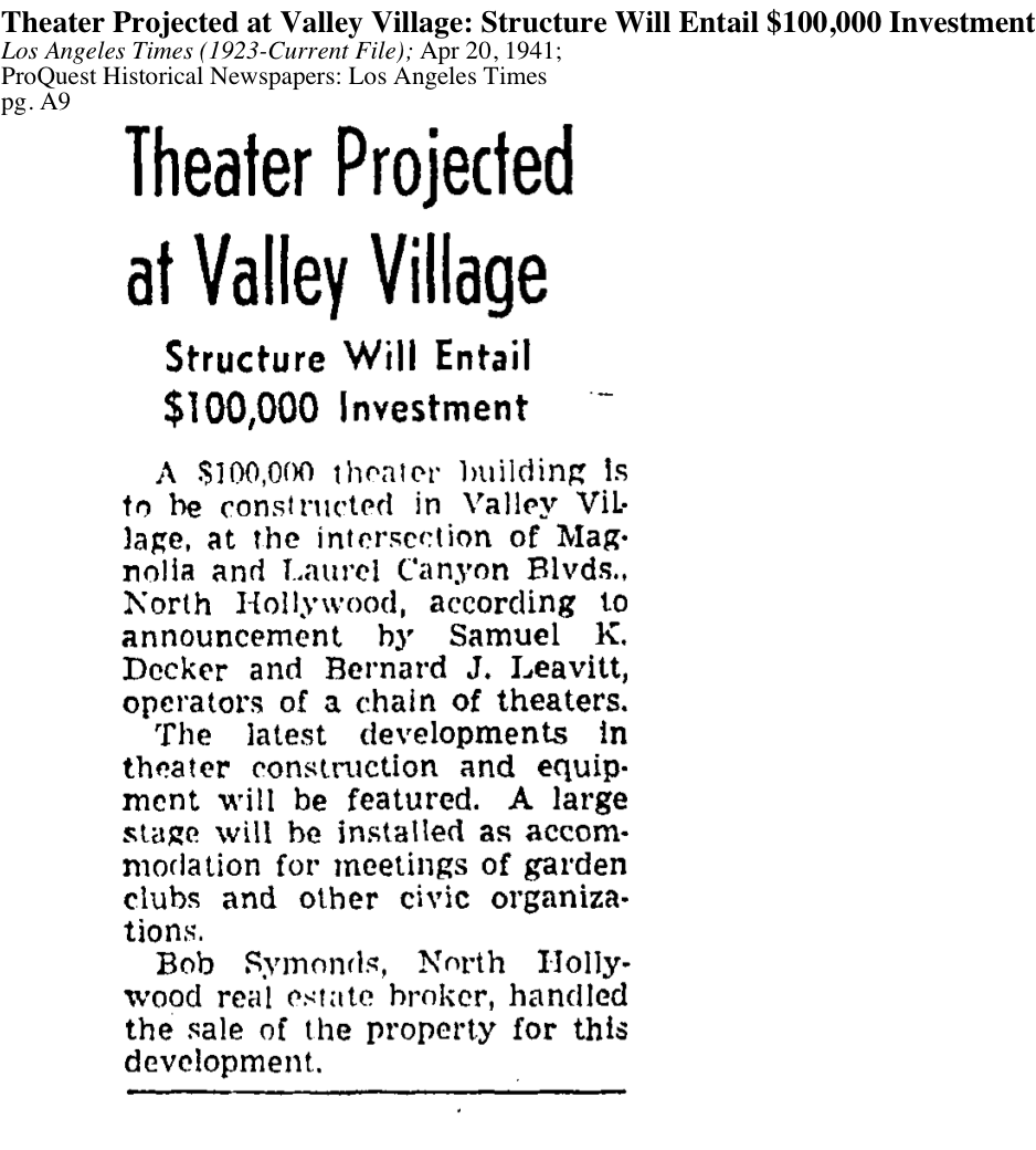 1941-Valley Village Theater