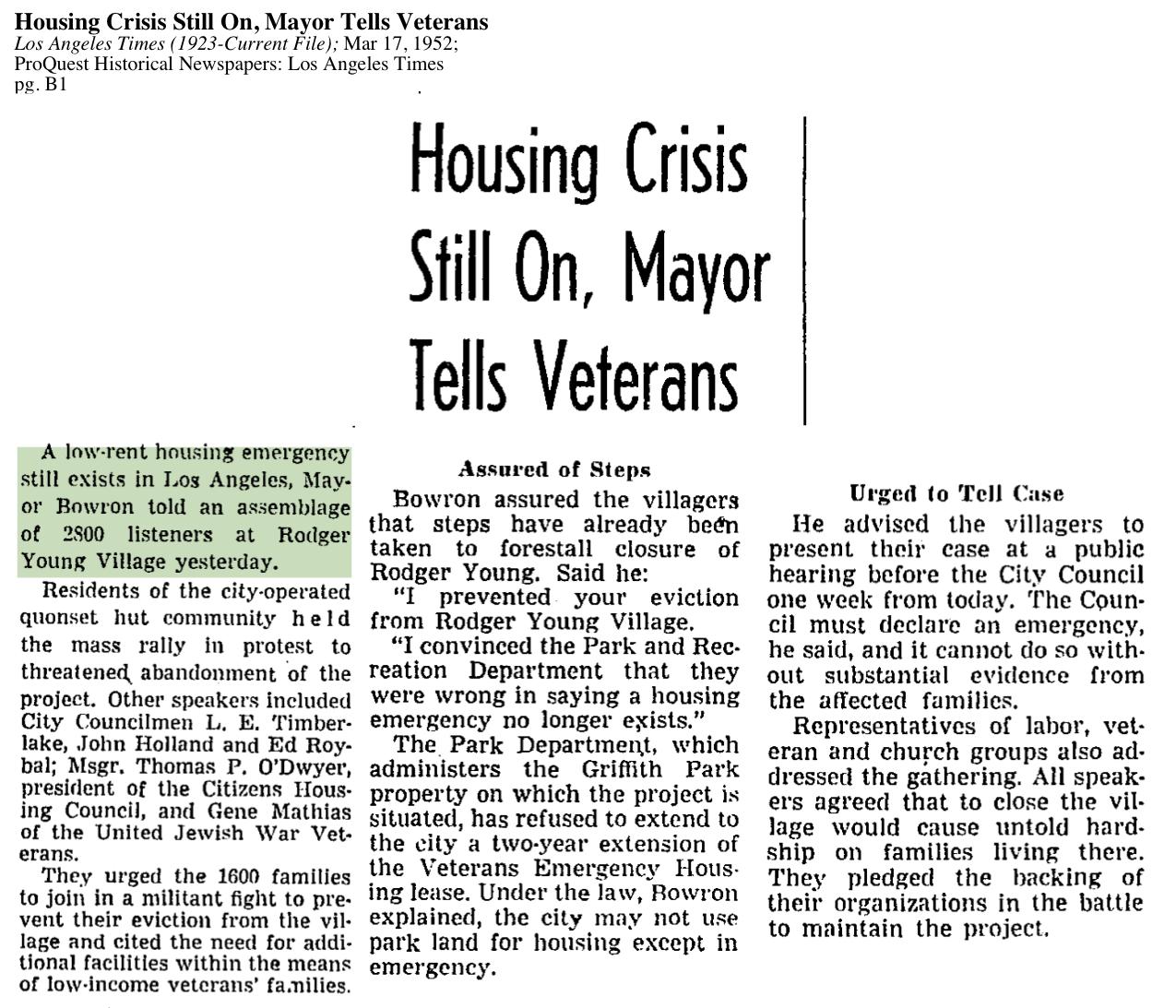 1952-Low Rent Housing Emergency