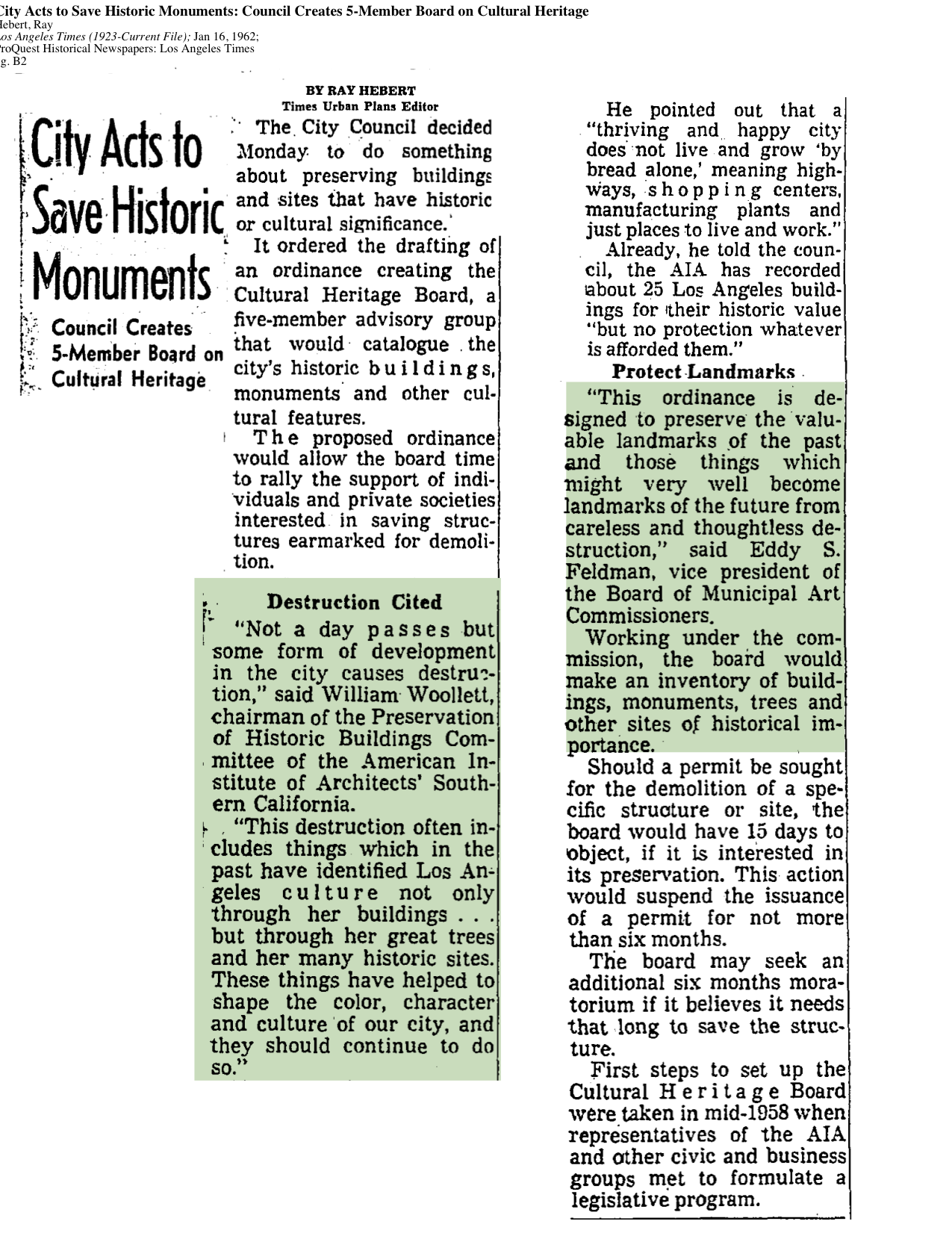 1962-City Acts To Save Historic Monuments