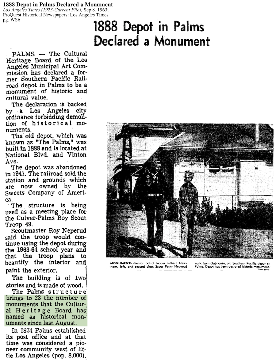 1963-Depot In Palms Declared A Monument