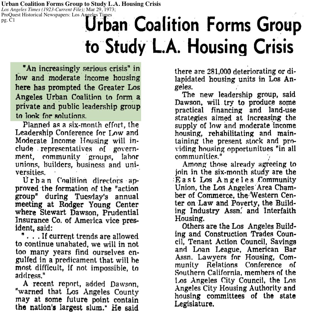 1973-Serious Crisis in Low And Moderate Income Housing