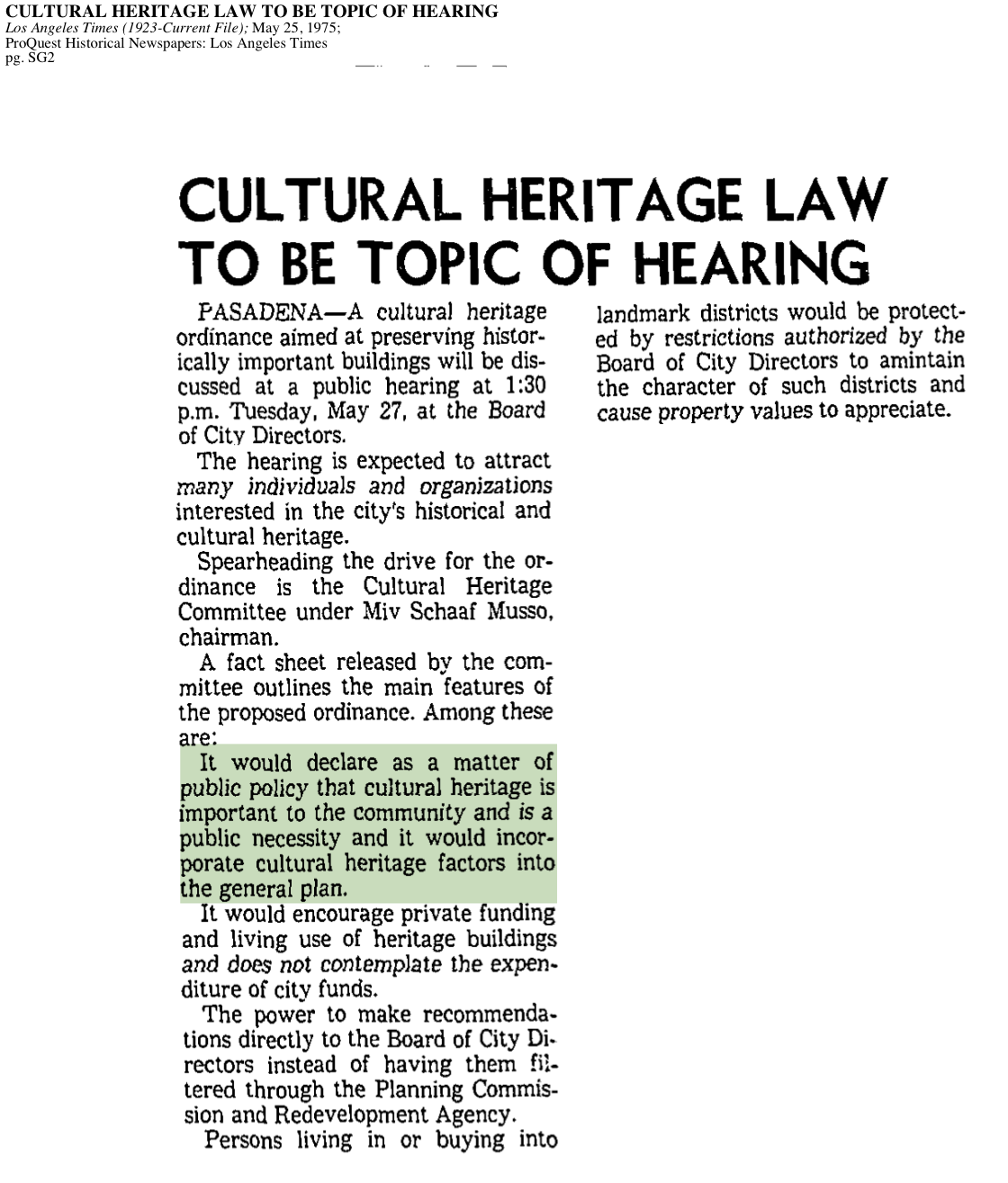 1975-Cultural Heritage Law To Be Topic Of Hearing