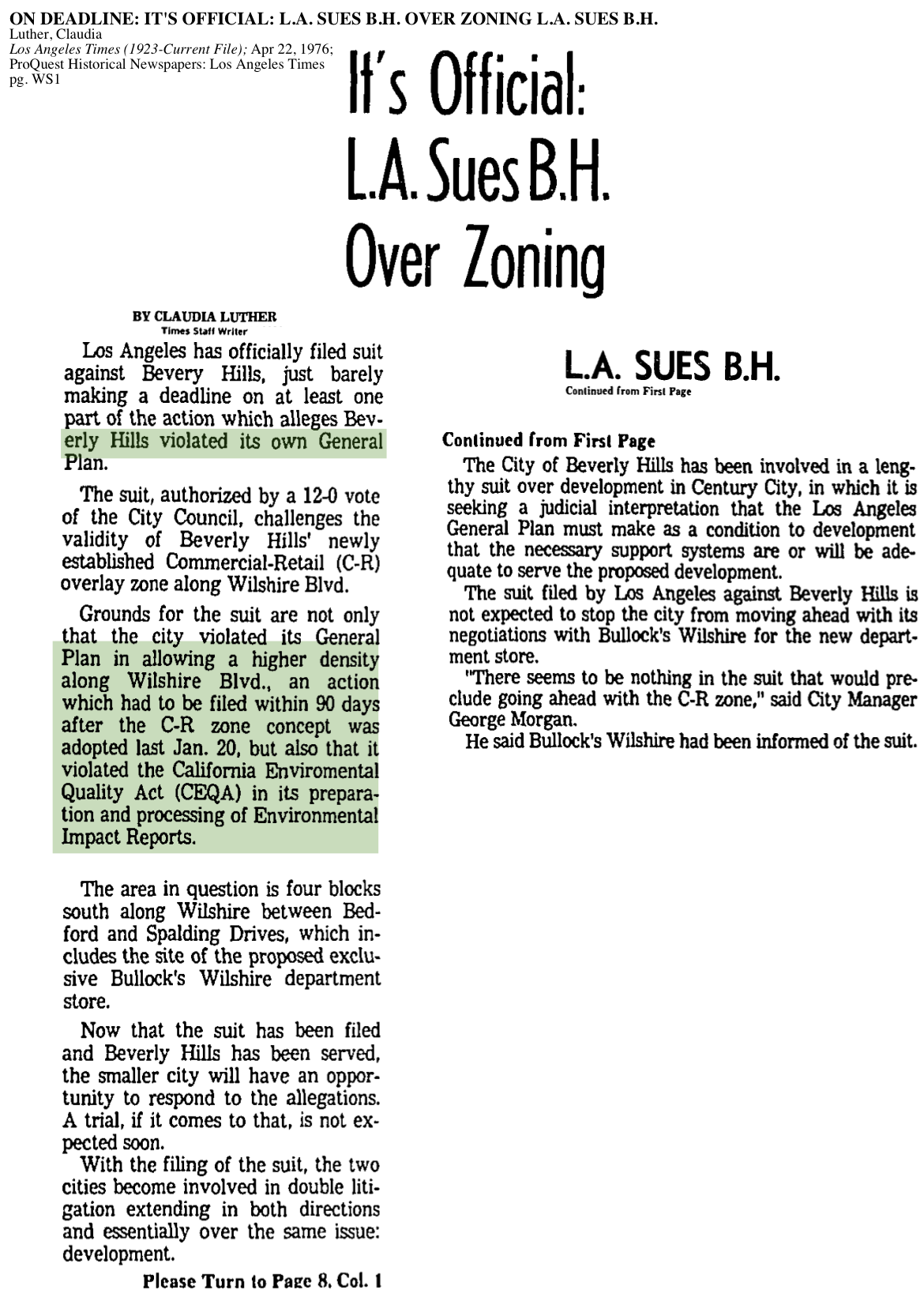 1976-L.A. Sues B.H. Over Zoning