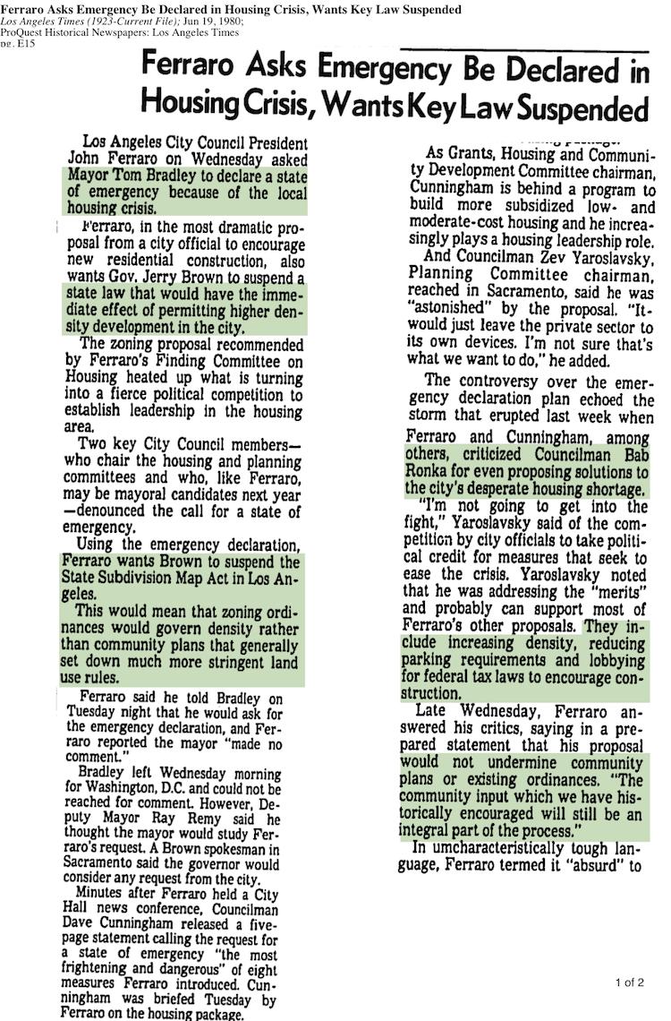 1980-Ferraro Emergency Declared Housing Crisis