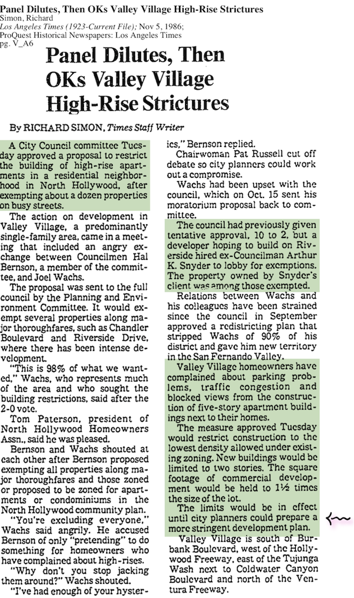 1986-Panel Dilutes, Then OKs Valley Village High-Rise Strictures