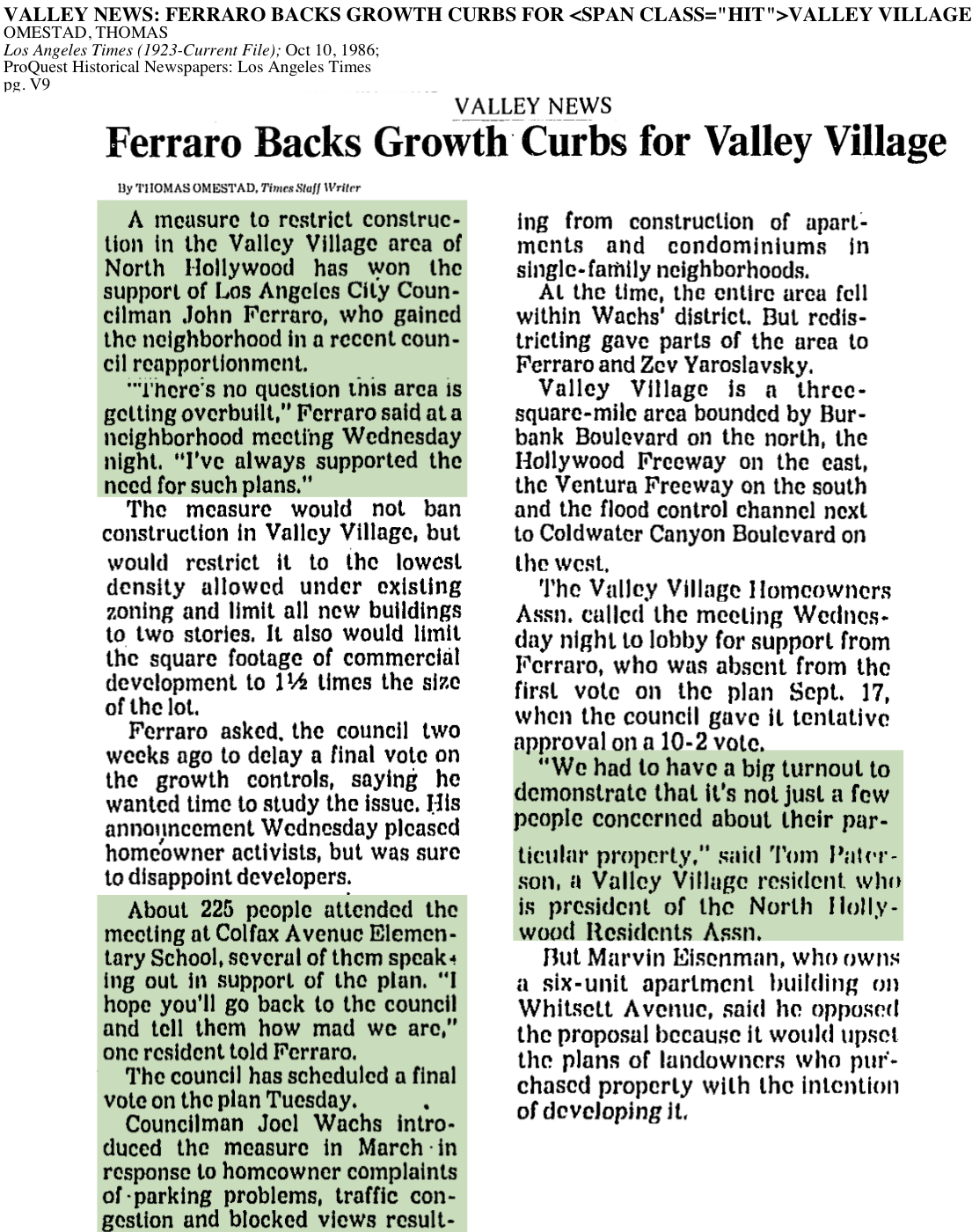 1986-Ferraro Backs Growth Curbs Valley Village
