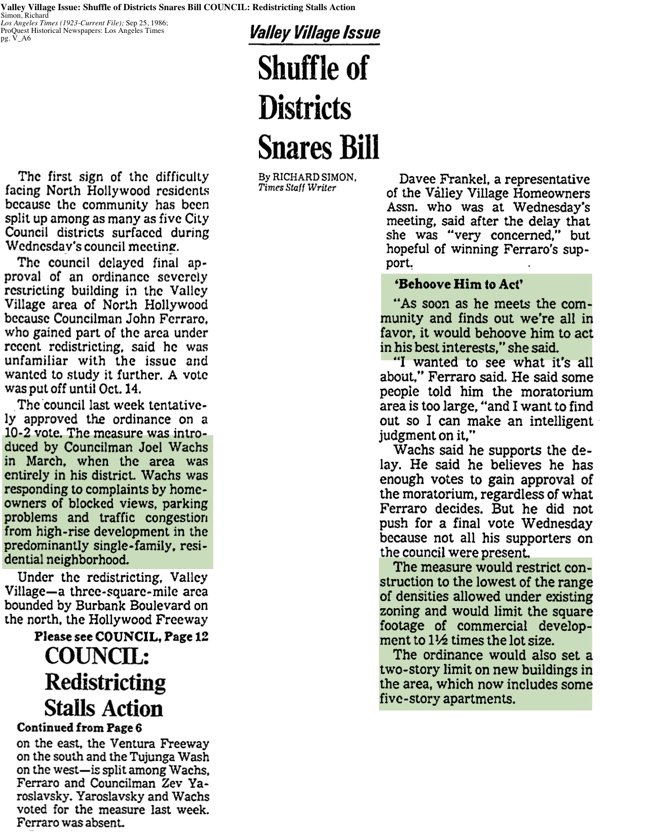 1986-Shuffle Of Districtes Snares Bill
