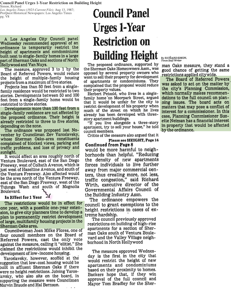 1987-Council Panel Urges 1-Year Restriction on Building Height