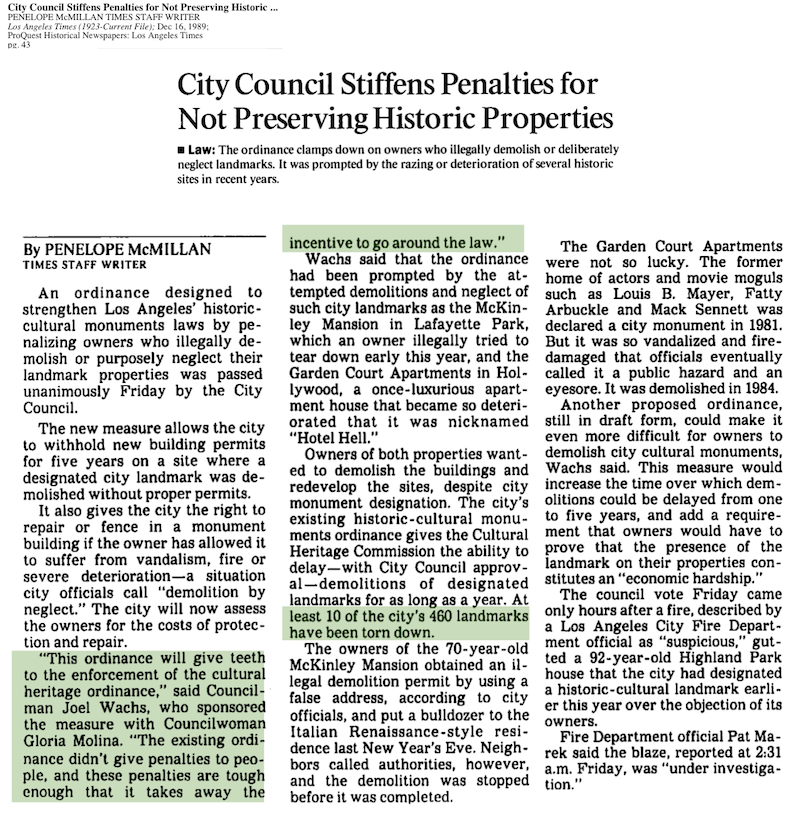 1989-City Council Stiffens Penalties for Not Preserving Historic Properties