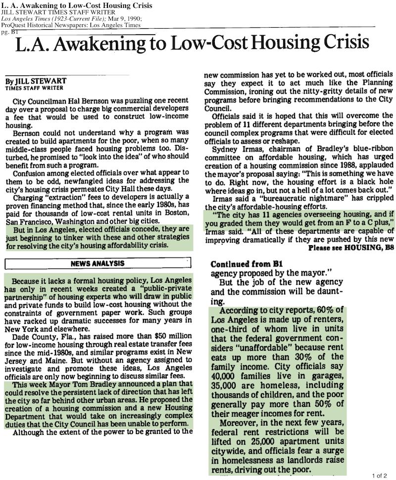 1990-LA Awakening to Low-Cost Housing Crisis
