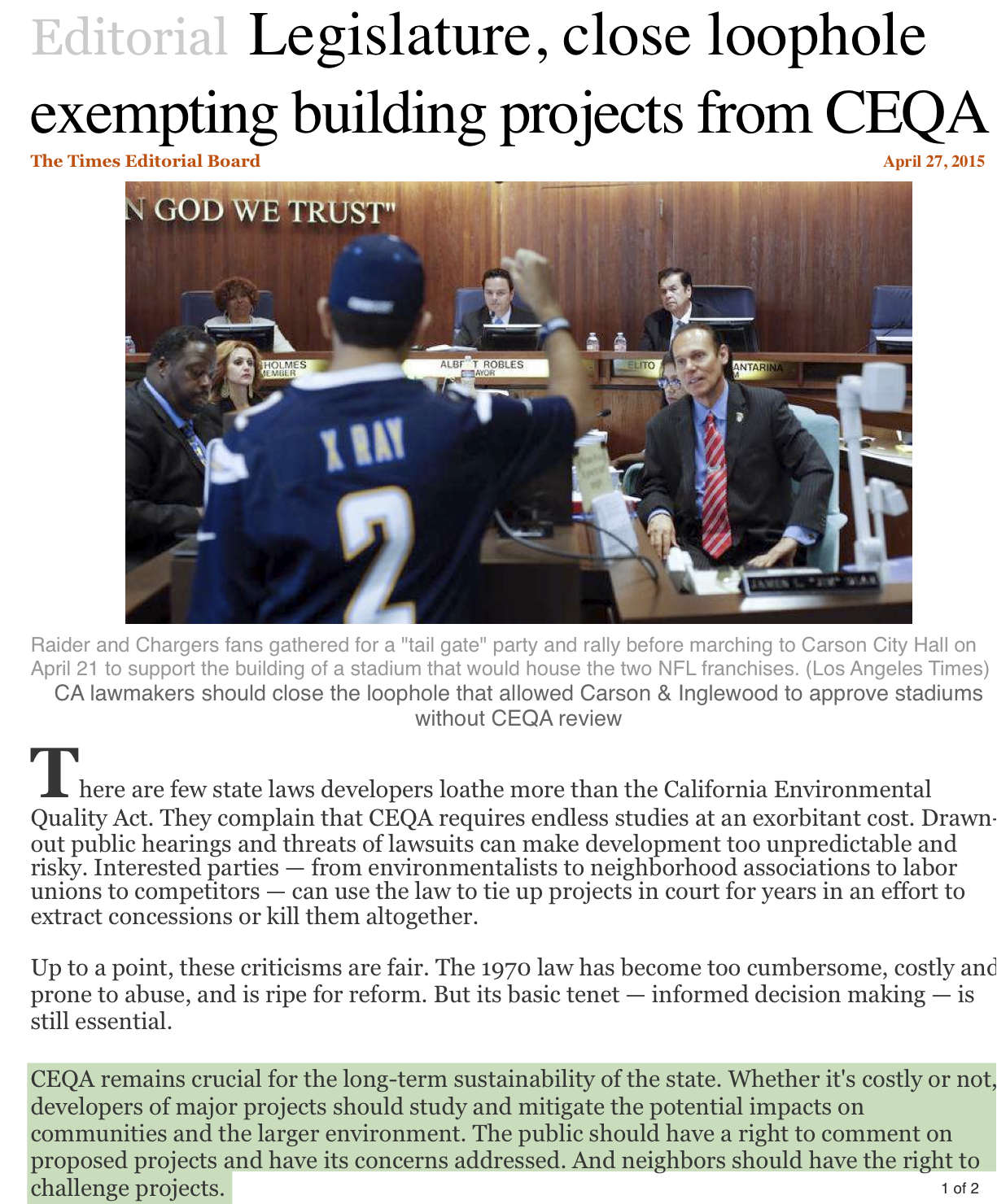 2015-Exempting Building Projects From CEQA