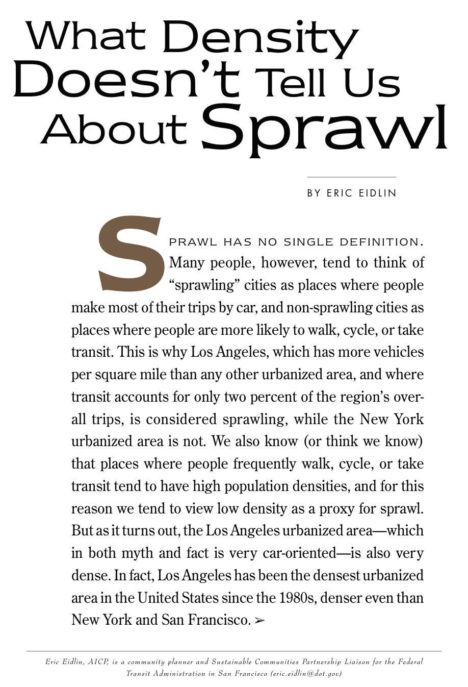 What Density Doesn't Tell Us About Sprawl