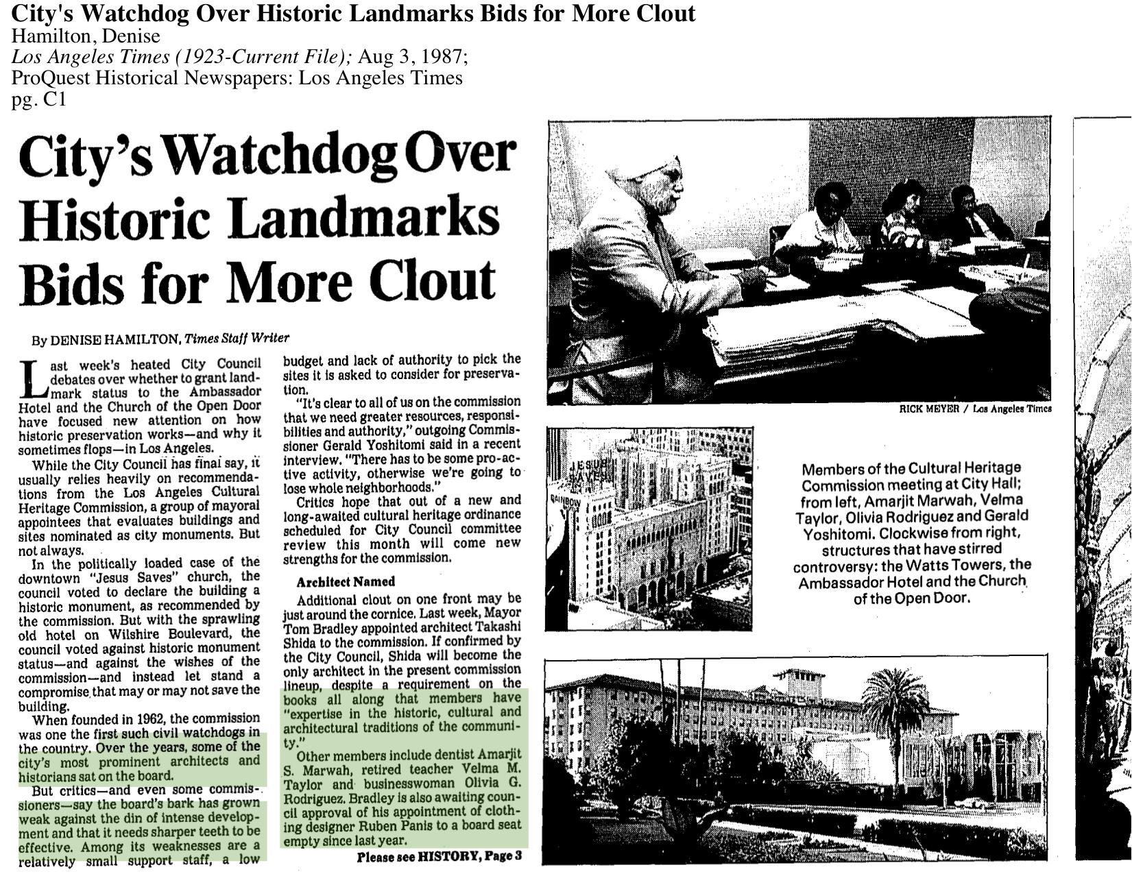 1987-City's Watchdog Over Historic Landmarks