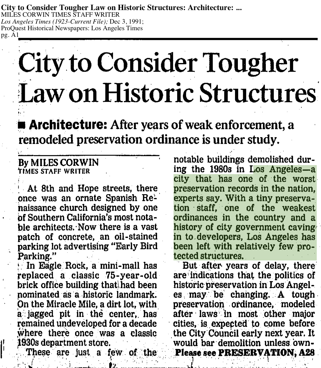 1991-City To Consider Tougher Laws on Historic Structures Considers