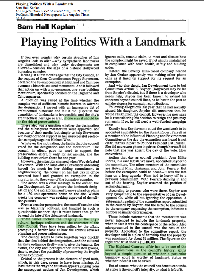 1985-Playing Politics With A Landmark