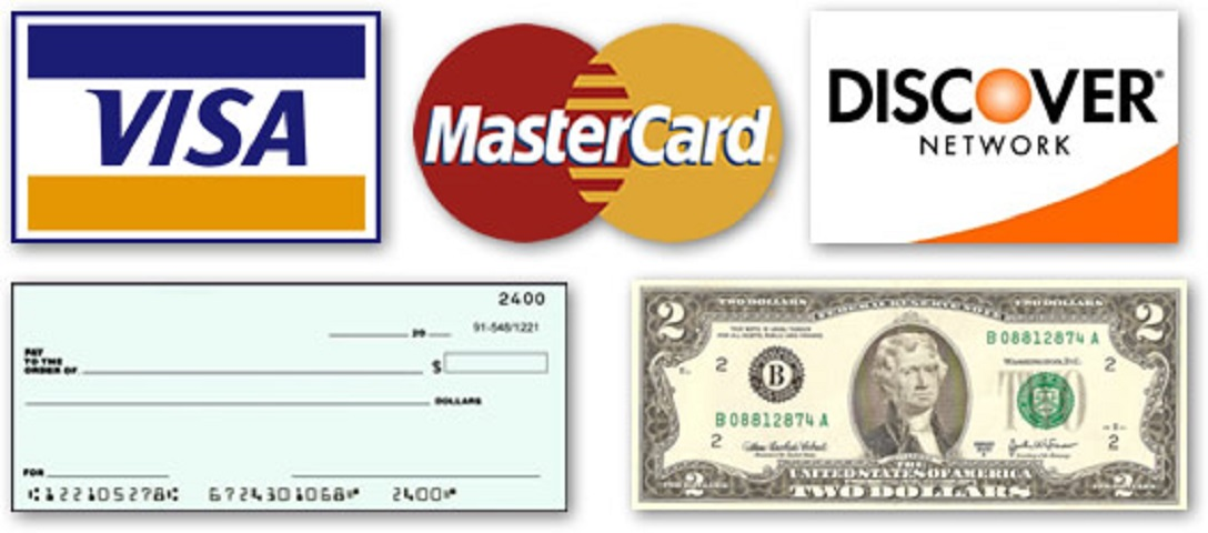 Payment types, Visa, MasterCard, Check or Cash