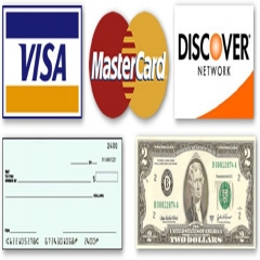 cash, credit, debit, check, Types of Payments accepted